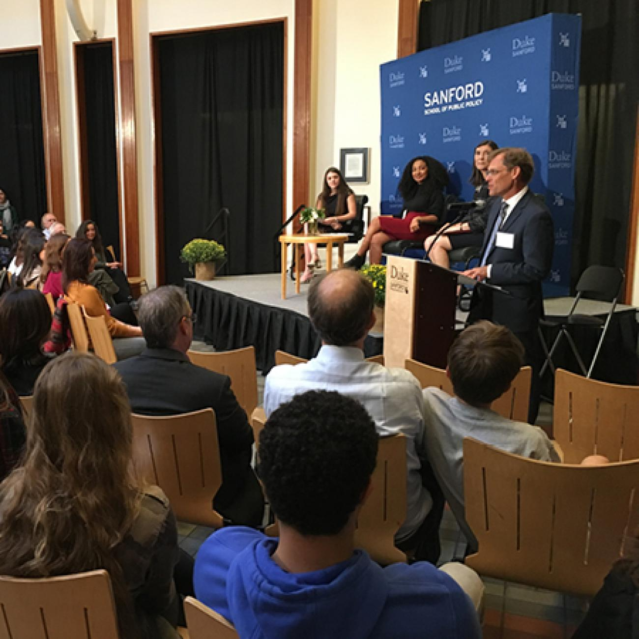 "Hart Leadership Program Director Gunther Peck moderates a panel conversation for ""Student Voting Rights: Why They Matter, How They Are Lost"" with Parkland student Sari Kauffman, Symone Singleton '17 and Anita Earls, an associate justice on the Supreme Court of North Carolina."