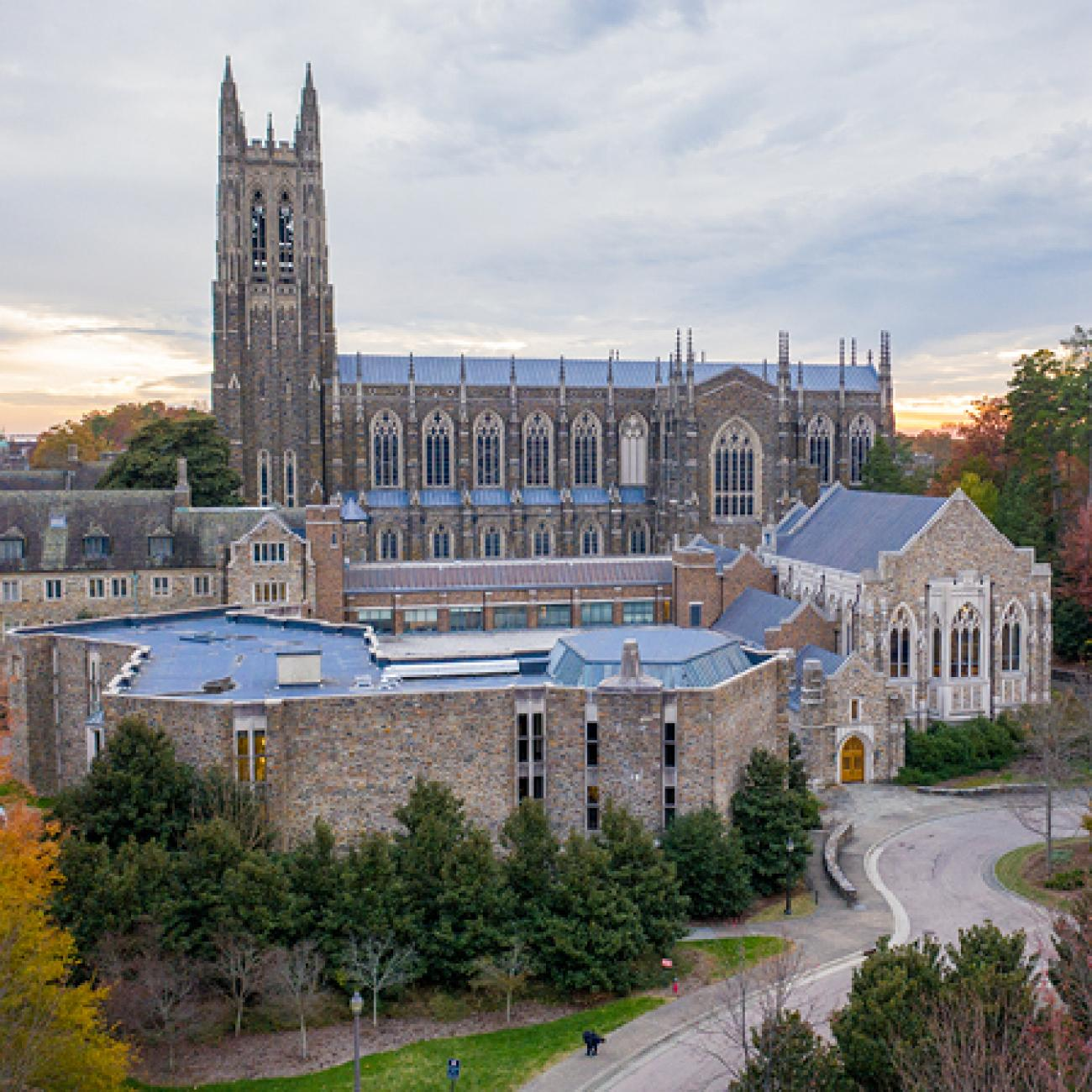 Aerial view of the Duke Chapel and Divinity School.