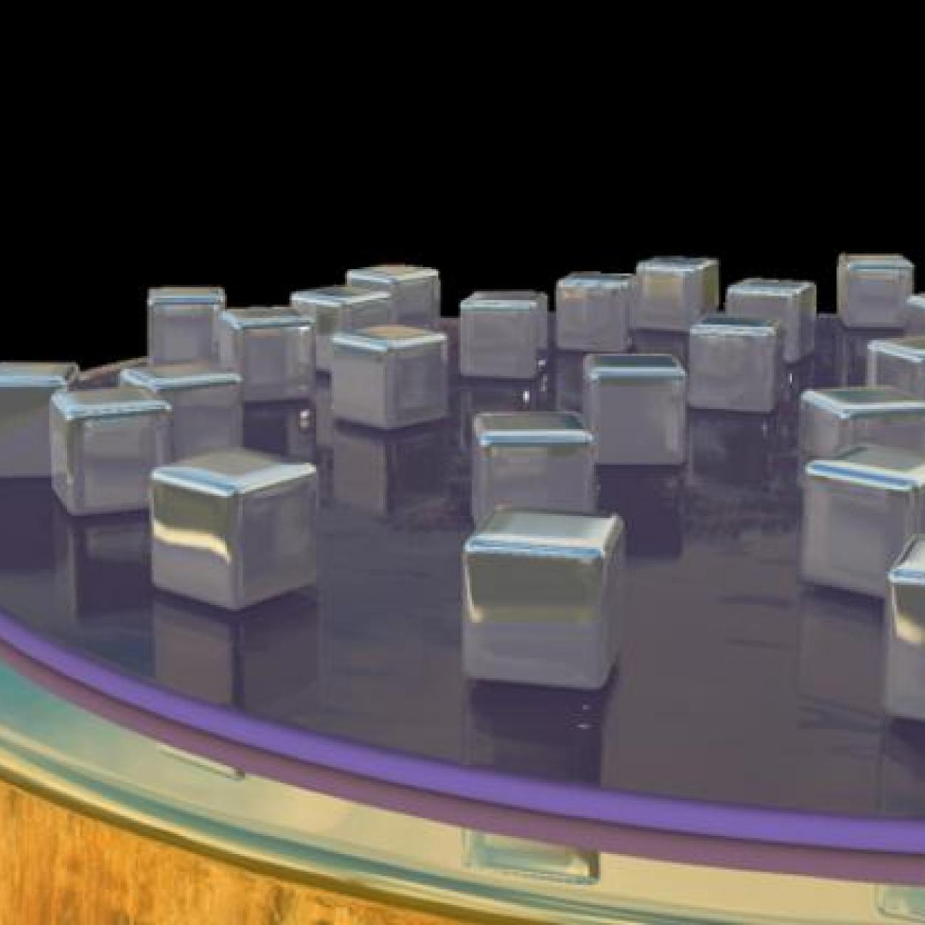 An artistic rendering of a new type of hyperspectral imaging detector. Depending on their size and spacing, nanocubes sitting on top of a thin layer of gold trap specific frequencies of light, which heats up the materials beneath to create an electronic signal.